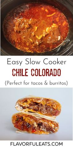 Easy Slow Cooker Chile Colorado is a wonderful Mexican dish made of chunks of beef that have simmered in a delectable red chile sauce until fall-apart tender. You can use the flavorful meat in tacos, burritos, or any of your favorite Mexican foods! Entree Recipes, Mexican Food Recipes, Chile Colorado, Great Recipes, Favorite Recipes, Pinterest Recipes, Everyday Food, Original Recipe, Burritos