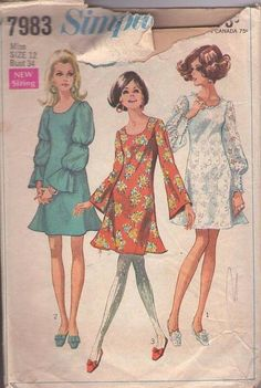 MOMSPatterns Vintage Sewing Patterns - Simplicity 7983 Vintage 60's Sewing Pattern SENSATIONAL Mod Twiggy Bell, Lantern, Balloon Sleeve Flirty Flared Skirt Cocktail Party Dress, Summer Wedding Lace Size 12