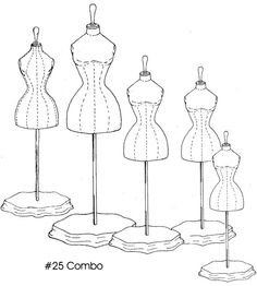 Victorian Doll Dress Form Sewing Pattern with 5 Sizes  25Combo  Here's another source of what I'm looking for, I hope.