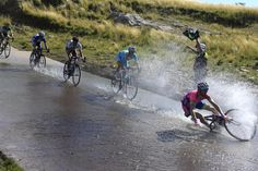 Diego Ulissi (Lampre-Merida) takes a little swim during stage 5 of the Tour de San Luis