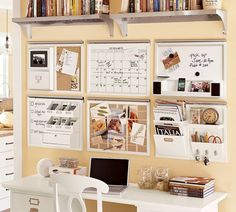 The stunning modern ultra enjoyable home office interior design inspiration in cream white shows a stationary storage a wall mounted bookcase a desk table and a chair