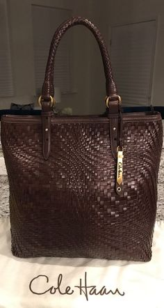 Cole Haan Genevieve MINT! Woven Leather Weave Tote Hobo Shoulder Hand Bag Purse #ColeHaan #TotesShoppers ABSOLUTELY STUNNING!!! LIKE NEW!!! BEAUTIFUL WOVEN LEATHER WEAVE LARGE TOTE BAG IN A GORGEOUS, LUSCIOUS CHOCOLATE BROWN COLOR!!! ONLY ONE!!! SALE!!! WOW!!!
