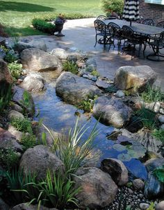 Residential Landscape Water Feature | 1st - JEFFREY WHITE INC. & ASSOCIATES This patio-side water garden transcends time and space, taking one away from the everyday rushing noises of the surrounding suburbs and enveloping him or her in a setting of peace and harmony. The artistic blend of botanical and native aquatic plant species attracts a multitude of brightly colored butterflies and song birds, lending to the mysticism of the setting.