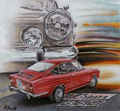 Fiat 850, Fiat Cars, Automotive Art, Automobile, Motorcycles, Illustrations, Sport, Nice, Painting