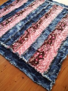 Denim and Pink Flannel Rag Quilt.  This was so much fun to make for Hannah this year.  I picked to do the denim tie dye myself.  For the  flannel I used super soft pink for the strips.  Love it!