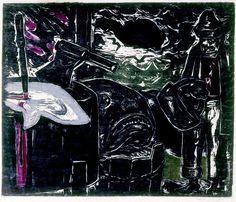 Oswaldo Goeldi, Peixaria (Fishmonger), circa 1950, assinada  xilogravura a cores, sem numeração