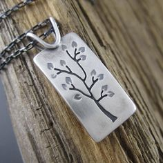 Summer Tree Portrait Sterling Silver Pendant.  Handmade in Michigan from eco-friendly recycled metal.