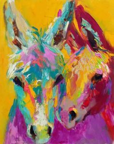 He's Into Color, a colorful burro oil painting by Barbara Meikle ...