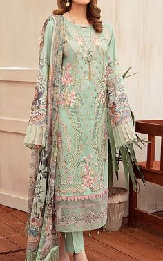 Pakistani Dresses Online Shopping, Suits Online Shopping, Fashion Pants, Fashion Outfits, Pakistani Lawn Suits, Add Sleeves, Lawn Fabric, Pistachio Green, Indian Fashion Dresses