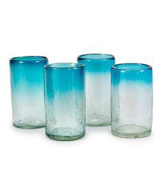 Look at this #zulilyfind! Aquamarine Pint Glass - Set of Four #zulilyfinds