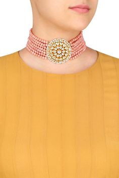 Art Karat presents Gold finish kundan and beads string necklace available only at Pernia's Pop Up Shop.