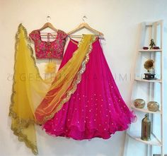 Beautiful pink color swirl lehenga and blouse with mustard net dupata. Crop top with hand embroidery thread work. 30 November 2017