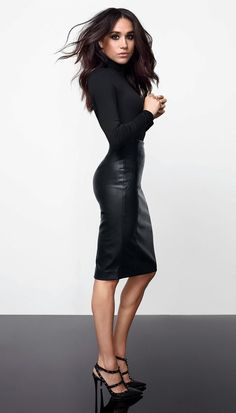 New Ladies Meghan Markle Celeb Polo High Neck Faux Leather Panel Bodycon Dress Women Dresses. Fashion is a popular style Estilo Meghan Markle, Meghan Markle Style, Meghan Markle Fashion, Meghan Markle Suits, Meghan Markle Hair, Meghan Markle Legs, Work Fashion, New Fashion, Fashion Beauty