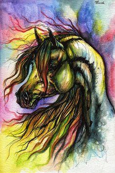Rainbow Horse 2 Painting  - Rainbow Horse 2 Fine Art Print