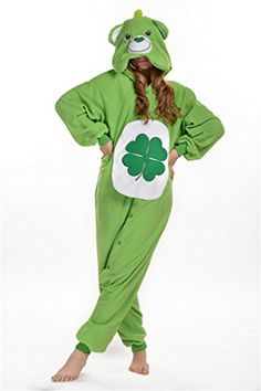 If you want look like the Good Luck Care Bear then you should check out this green Care Bears onesie costume Pajama. The Kigurumi style onesie is fun to dress when you want to look like Good Luck Bear. Cosplay Dress, Cosplay Outfits, Cosplay Costumes, Men Cosplay, Anime Cosplay, Care Bear Costumes, Onesie Costumes, Care Bear Onesie, Care Bear Tattoos