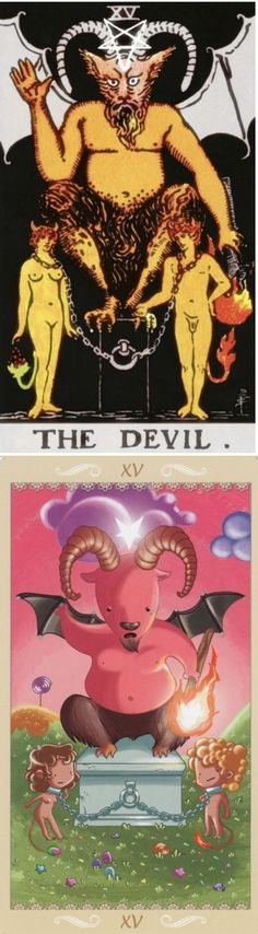 THE DEVIL: destructive patterns and release (reverse). Rider Tarot deck and Happy Tarot deck: physic reading, free psychic reading and egyptiantarot. The best tarot decks for sale and lenormand cards. #halloween2017 #iosapp #thesun #ghost #wicca