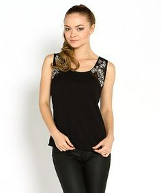 Another great find on #zulily! Black Embroidered Sleeveless Top by Marineblu #zulilyfinds