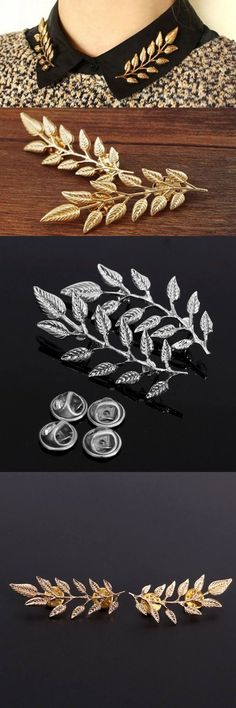 Knp headwear 1pair vintage gold silver leaf collar pins brooches jewelry unisex #hardwear #jackets #headwear #description #headwear #professionals #canada #k-way #headwear