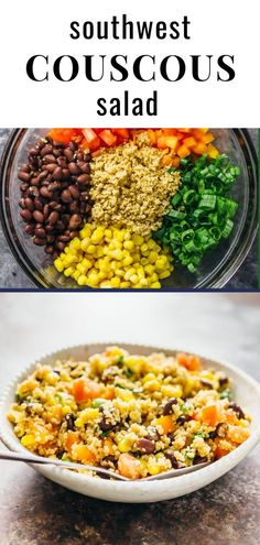 This is the best couscous salad I've ever had. It's easy to make, vegan, and has a summery southwestern vibe. Vegan Couscous Recipes, Vegan Dishes, Vegan Recipes Easy, Veggie Recipes, Vegetarian Recipes, Dinner Recipes, Cooking Recipes, Couscous Meals, Cold Meals