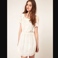 Cream Embroidered Dress Beautiful embroidered lacy mesh dress. Only worn once for my graduation ceremony. Pull on construction. Elastic waist. Size 6 but can easily fit an 8. Gorgeous look! ASOS Dresses Mini