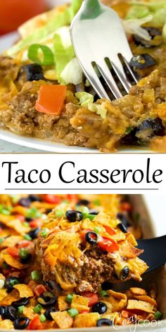 This Taco Casserole is easy to make ahead of time and bake later! It's loaded with juicy ground beef and your favorite Mexican toppings for a perfect weeknight dinner! dinner recipes with ground beef Taco Casserole Ground Beef Recipes For Dinner, Dinner With Ground Beef, Easy Dinner Recipes, Dinner Ideas With Hamburger, Ground Chuck Recipes Dinners, Taco Ideas For Dinner, Healthy Ground Chicken Recipes, Meals To Make With Ground Beef, Casseroles With Ground Beef