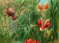 Playful ladybugs. Corel painter.