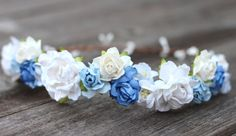 Flower Crown Cobalt Blue Ivory Floral Halo by weddingflowercrown