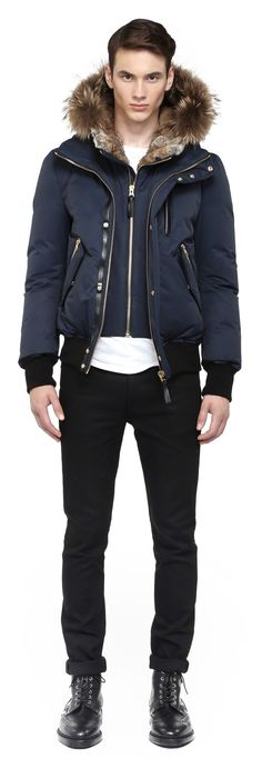 Mackage - DIXON-F4 NAVY WINTER DOWN BOMBER JACKET FOR MEN WITH FUR HOOD