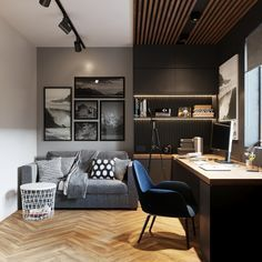 Modern home office space Modern Home Offices, Small Home Offices, Home Office Setup, Home Office Space, Office Music, Cozy Office, Home Office Bedroom, Office Nook, Office Ideas