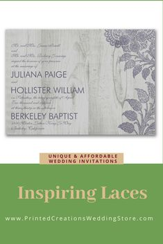 Inspiring Lace Invitation - Perfect for a rustic wedding with its woodgrain background and romantic touch of lace.  Don't forget the charming stationery pieces to match.  Shop this and many more rustic wedding invitations at www.PrintedCreationsWeddingStore.com.  #rusticwedding  #rusticweddinginvitations  #rusticweddinginvites  #rusticinvites  #rusticinvitations  #rusticinvitationswedding  #weddinginvitations  #invitationswedding #weddinginvites #inviteswedding #weddinginvitationslace