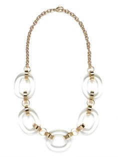 This striking necklace works a glam Sixties vibe with those O-ring links and bold pops of gold. Its a wonderful statement style thats equal parts sophistication and cool.