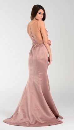 Beaded illusion neckline satin mermaid dress 101-7460mocha