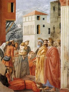 Distribution of Alms and Death of Ananias, 1424-1425 - Masaccio