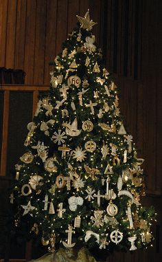 Chrismon Tree: highly symbolic, conveying the life of Christ and the meaning of Christmas through commonly found items and easily understood symbols.