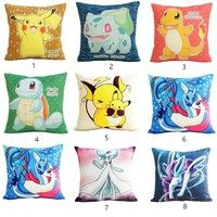 Wish | 2017 Fashion Super Cute Pokemon Pikachu 18 inch and  14inch Home Decoration Short Plush  Cushion Cover Square Sofa Car Throw Pillow Cases for Gifts