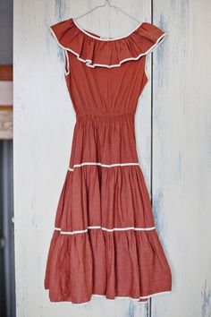 Vintage Summer Dress // Orange Dress by BlueBirdLab on Etsy