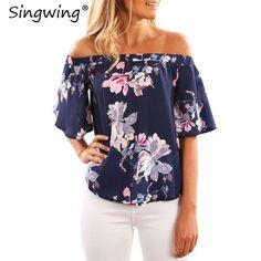Women Off the shoulder Shirts Printed Flower Chiffon Blouse Short Sleeve Summer Casual printed Shirts