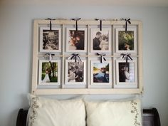 refurbished old window frames | Window Frame Picture Display | Nesting on a Budget