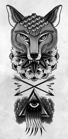 TOM GILMOUR - DESIGN & ILLUSTRATION, wolf tattoo design, eye, arrows