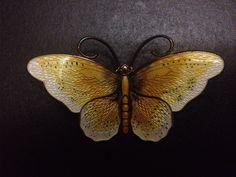 David Anderson Black Yellow Enamel Sterling Silver Butterfly Brooch