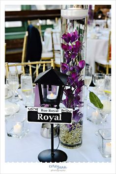New Orleans themed centerpiece at Windows on the River reception by by Corey Ann Photography