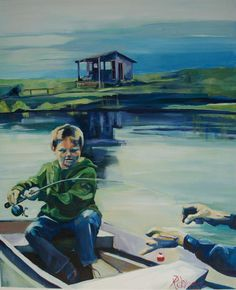 """Rebecca Davies """"Daddy's hands""""   41"""" x 50"""" acrylic on canvas"""