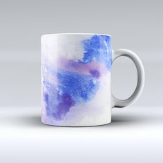 The Blue and Pink Watercolor Spill ink-Fuzed Ceramic Coffee Mug from DesignSkinz