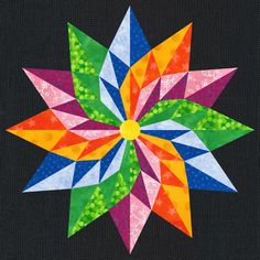 The Good Luck Star Quilt Block Pattern -- I have this pattern from Craftsy Barn Quilt Patterns, Paper Piecing Patterns, Pattern Blocks, Star Patterns, Quilting Patterns, Star Quilt Blocks, Star Quilts, Scrappy Quilts, 3d Quilts