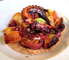 Octopus on Genzano bread sauce! Polpo alla Genzanese! #polpo #octopus #bread #pane #homemade #fresh #fish #fattoincasa #fresco #pesce #food #yummy #yummyfood #foodporn