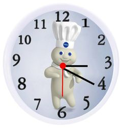 The clock is 10 in diameter, white, plastic frame and clear cover. Dutch Oven Set, Hobe Sound, Thomas The Train, Pillsbury, Wonderful Things, Clock, Frame, Wall, Crafts