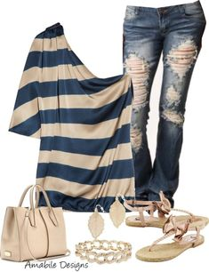 Off the shoulder blouse with jeans. Very simple but very stylish...