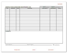 Fleet vehicle maintenance forms httplonewolf software machine maintenance log template httplonewolf software thecheapjerseys Image collections