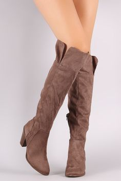 eb724c943bb Qupid Suede Almond Toe Over-The-Knee Chunky Heeled Boots