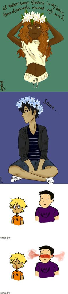 Hazel Levesque, Nico di Angelo, Will Solace, and Frank Zhang ~ repinned by claire_valdez